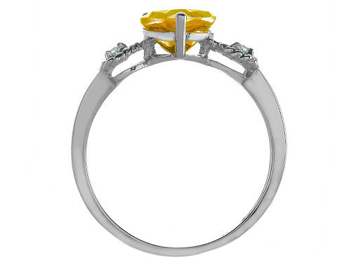 Tommaso Design Genuine Citrine Heart Shape Engagement Promise Ring