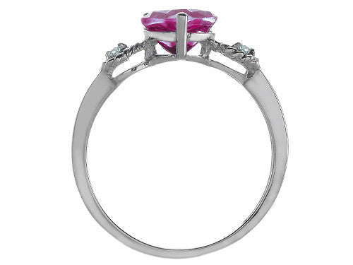 Tommaso Design Created Ruby Heart Shape Engagement Promise Ring