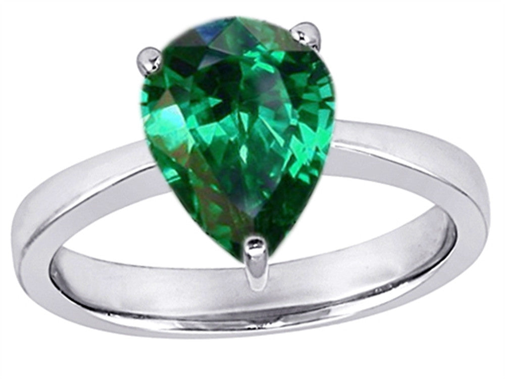 Star K Large 11x8mm Pear Shape Solitaire Ring with Simulated Emerald
