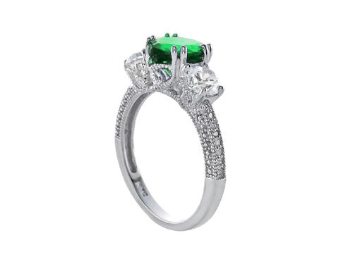 Star K 8mm Heart Shape Simulated Emerald Ring