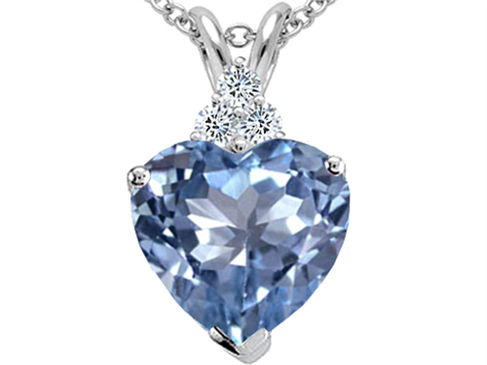 Tommaso Design Heart Shape 8mm Simulated Aquamarine Pendant Necklace