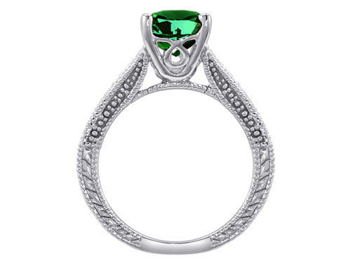 Star K Emerald Cut Simulated Emerald Solitaire Ring