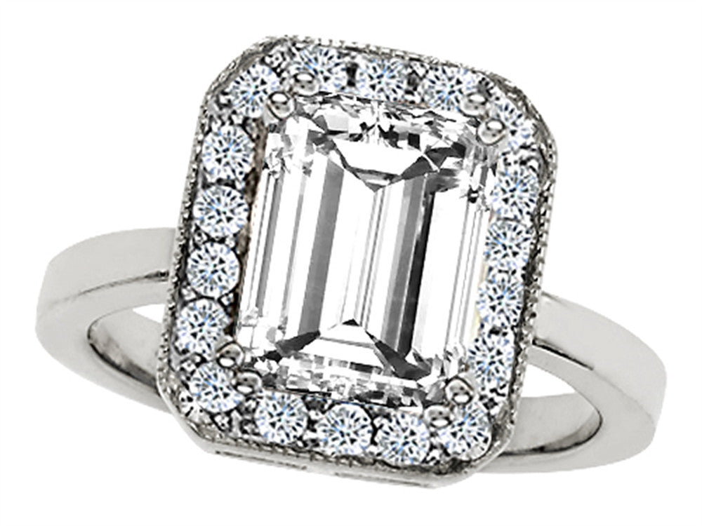 Star K Emerald Cut Genuine White Topaz Ring