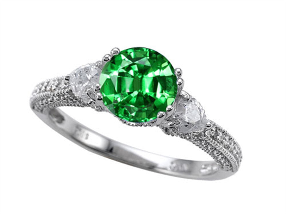 Star K 7mm Round Simulated Emerald Ring