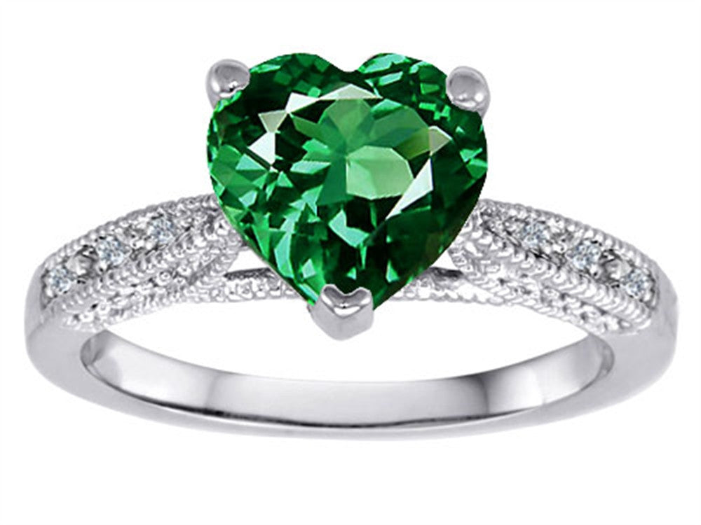 Star K Heart Shape Simulated Emerald Solitaire Ring