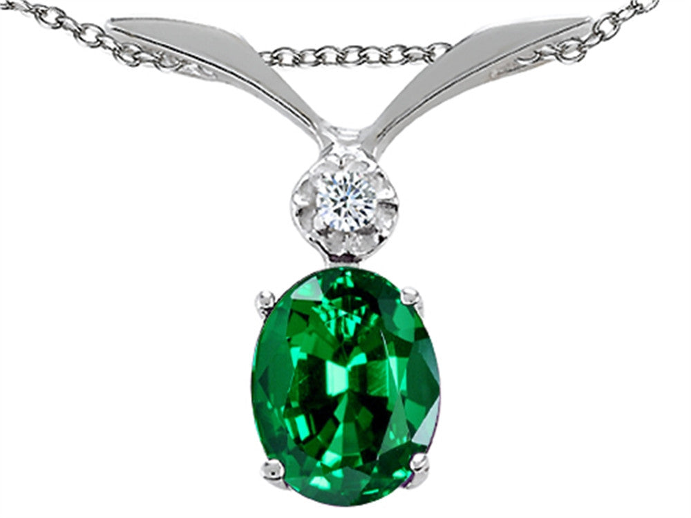 Tommaso Design Oval Simulated Emerald And Pendant Necklace