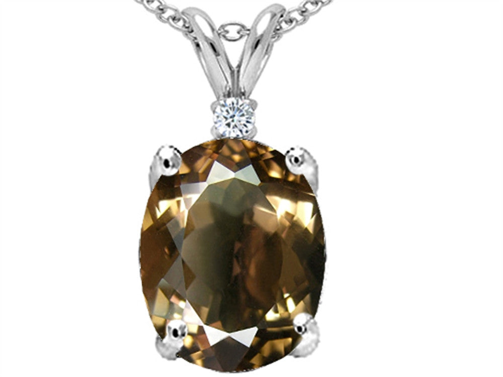 Tommaso Design Oval 12x10mm Genuine Smoky Quartz Pendant Necklace