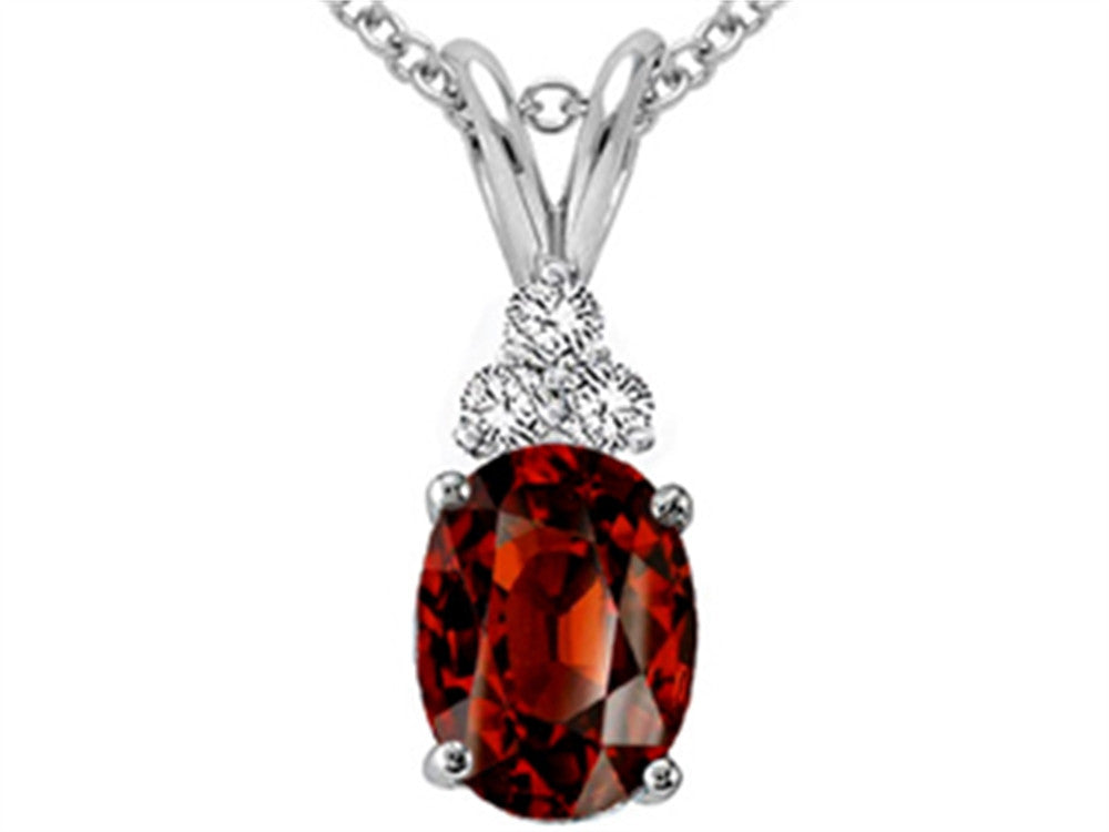 Tommaso Design Oval Genuine Garnet Pendant Necklace