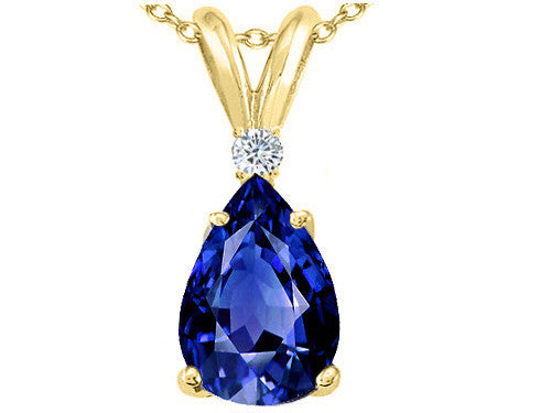 Tommaso Design Pear Shape 8x6mm Created Sapphire Pendant Necklace
