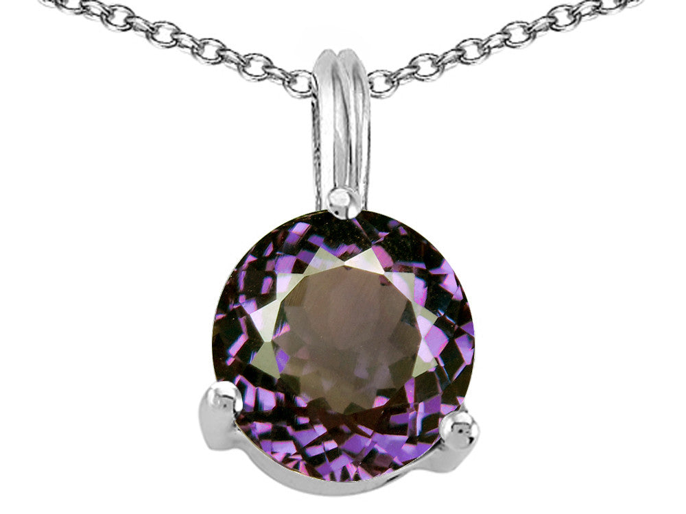 Tommaso Design Round 7mm Simulated Alexandrite Pendant Necklace