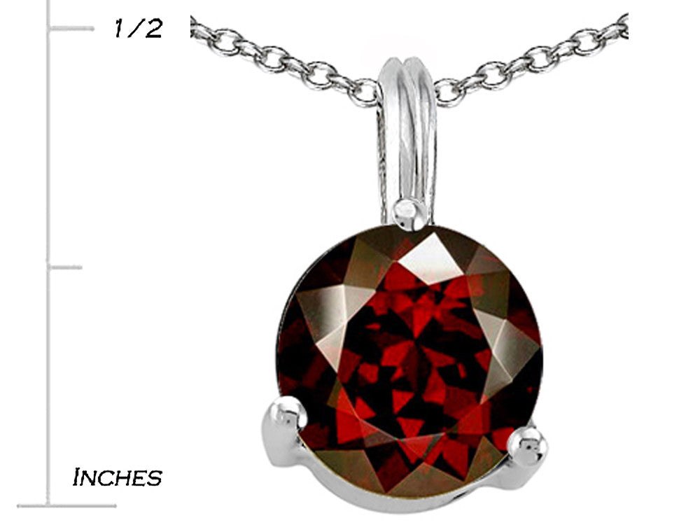 Tommaso Design Round 7mm Genuine Garnet Pendant Necklace