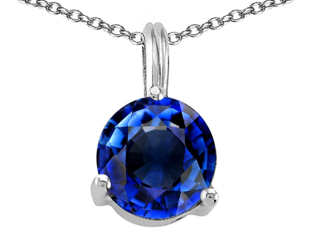 Tommaso Design Round 7mm Created Sapphire Pendant Necklace