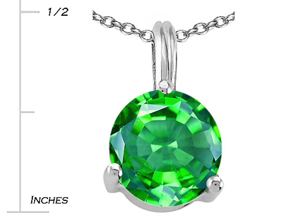 Tommaso Design Round 7mm Simulated Emerald Pendant Necklace