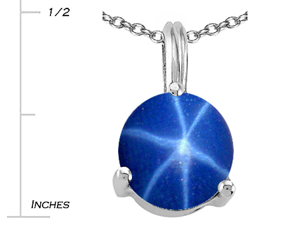 Tommaso Design Round 7mm Created Star Sapphire Pendant Necklace