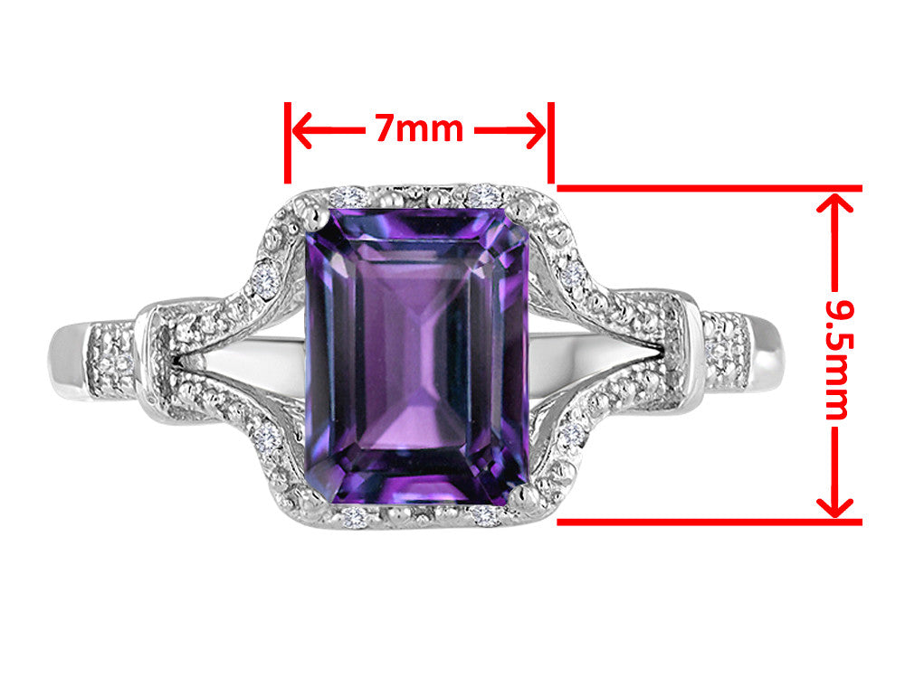 Original Star K 8x6mm Emerald Cut Simulated Alexandrite Ring