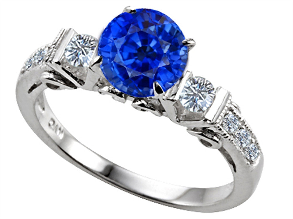 Star K Classic 3 Stone Ring With Round 7mm Created Sapphire