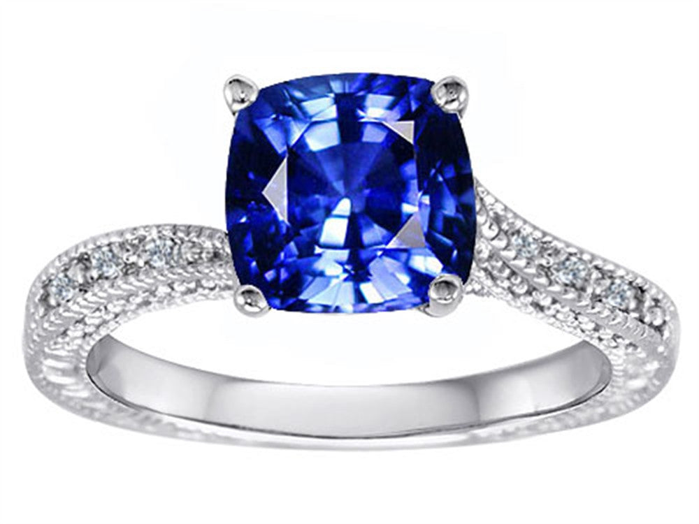 Star K Solitaire Ring with Cushion Cut Created Sapphire