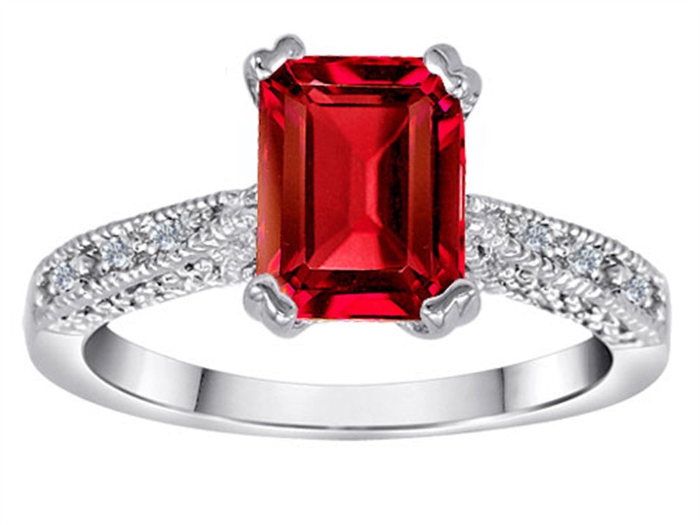 Star K Solitaire Ring with Emerald Cut Created Ruby