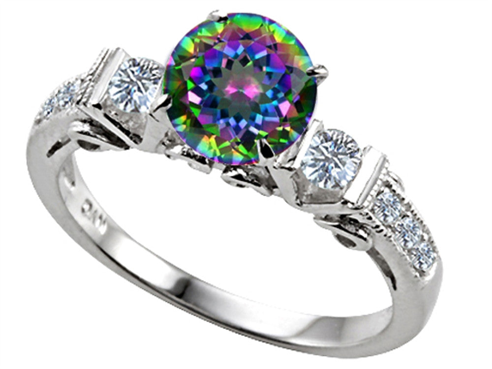 Star K Classic 3 Stone Ring With Round 7mm Mystic Rainbow Topaz
