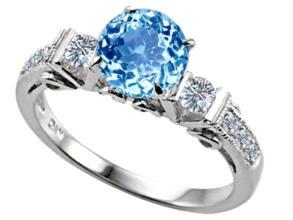 Star K Classic 3 Stone Ring With Round 7mm Simulated Aquamarine