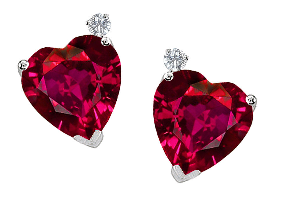Tommaso Design Heart Shape 7mm Created Ruby Love Earrings Studs