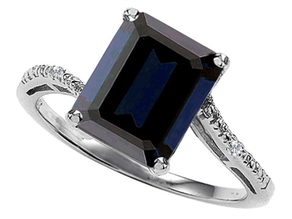 Tommaso Design Emerald Cut 10x8 Genuine Black Sapphire Engagement Ring
