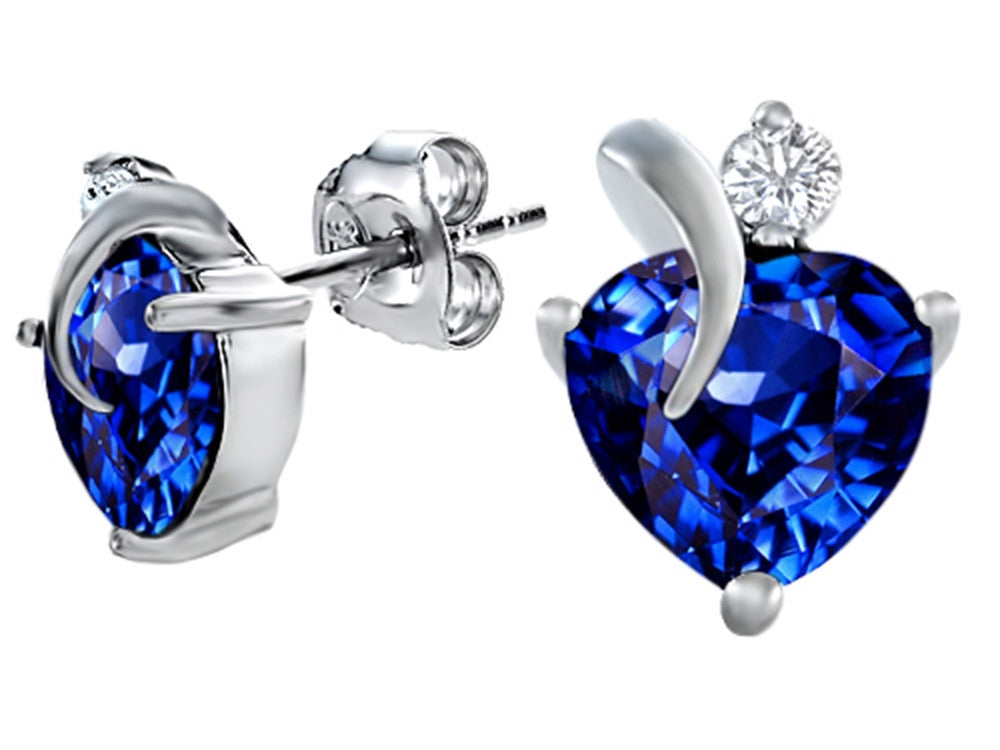 Star K 7mm Heart Shape Simulated Sapphire Heart Earrings