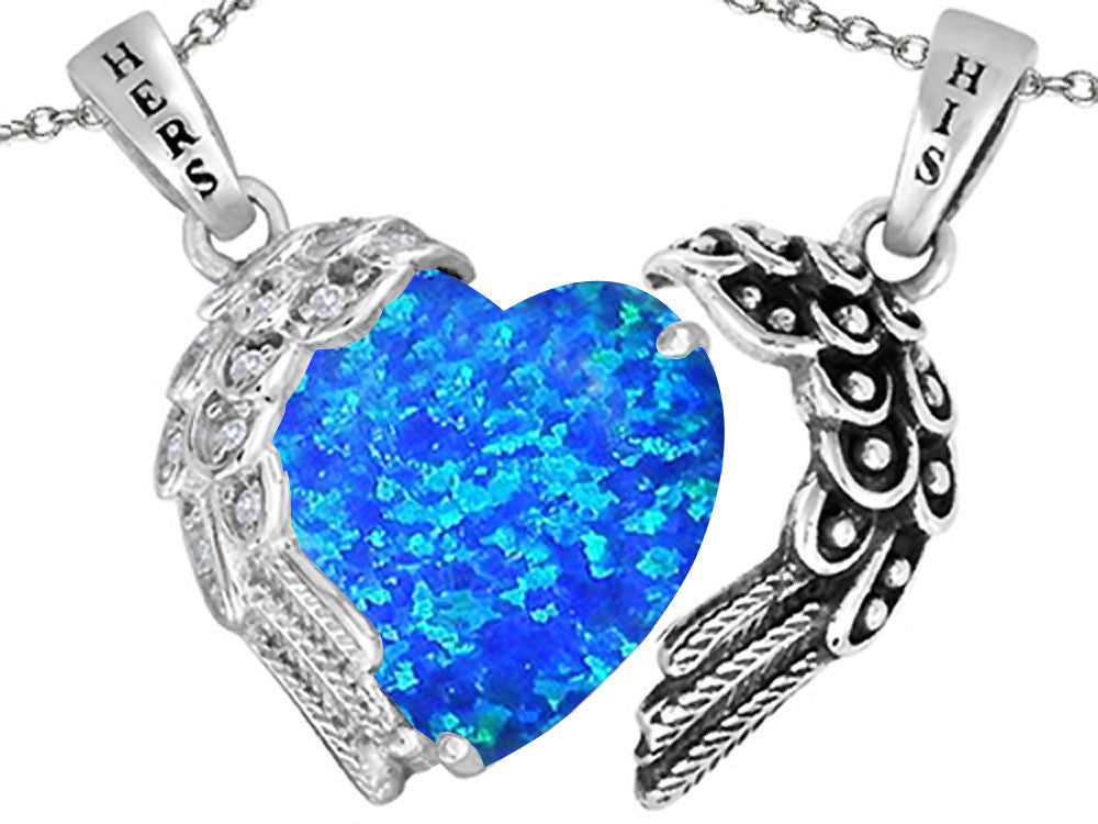 Star K His and Hers winged Love Couple 2pcs Pendant Necklace set with Heart Shape 11mm Blue Created Opal