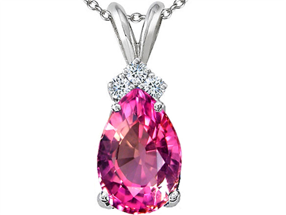 Tommaso Design Pear Shape Created Pink Sapphire s Pendant Necklace