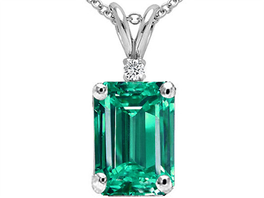 Tommaso Design Emerald Cut Simulated Emerald Pendant Necklace