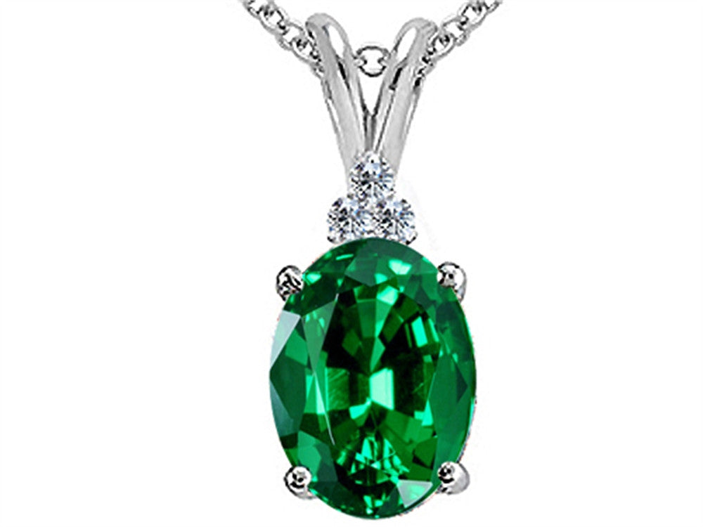 Tommaso Design Oval Simulated Emerald Pendant Necklace