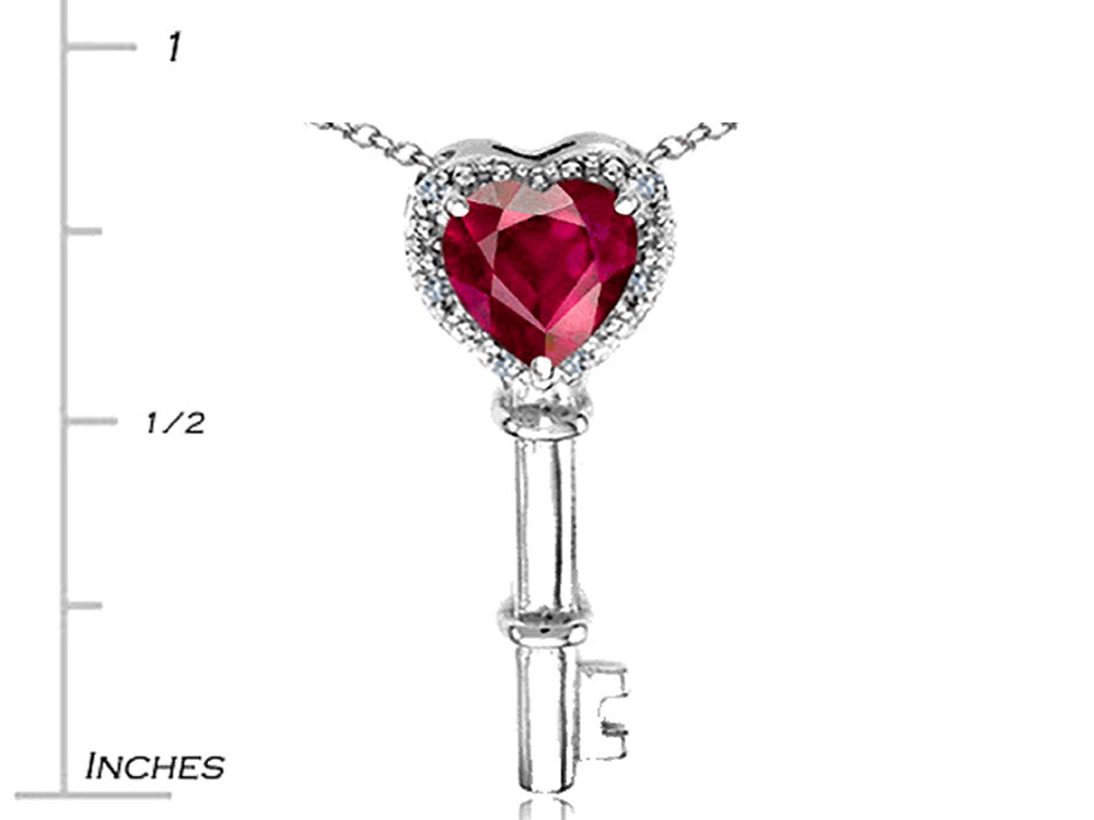 Tommaso Design Key to My Heart Pendant Necklace with Created Ruby