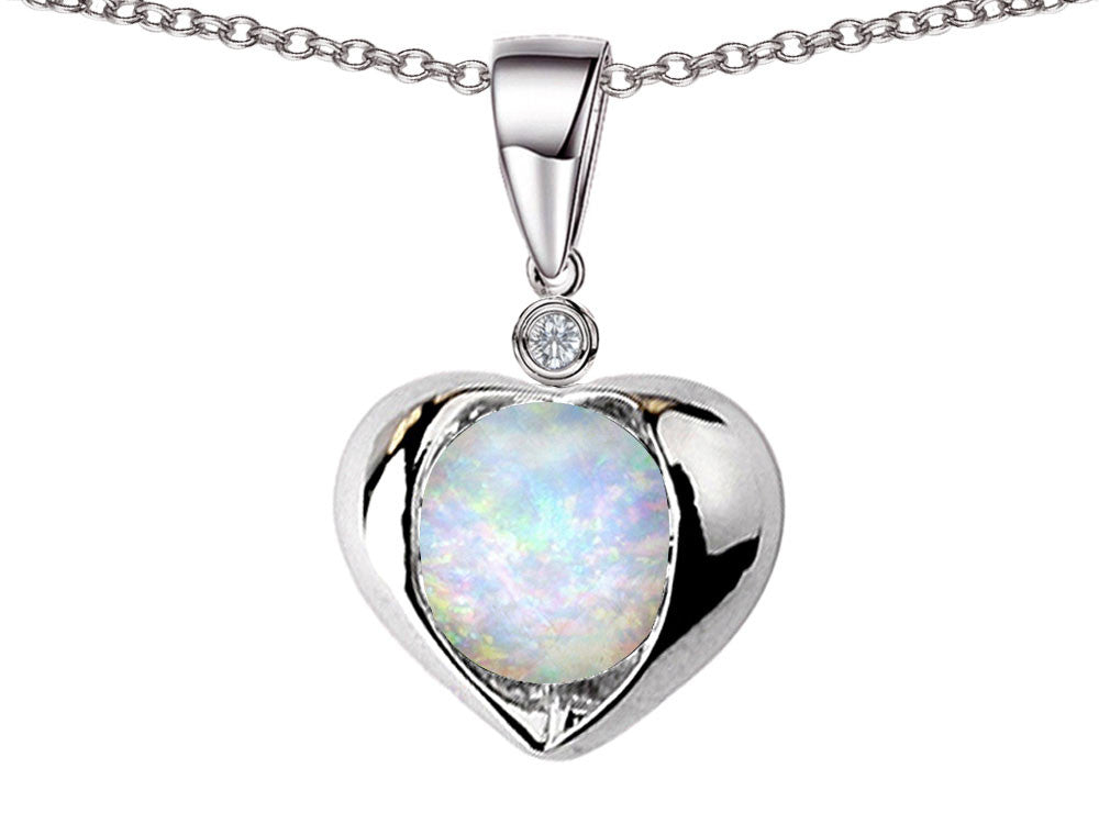 Star K Round 7mm Created Opal Heart Pendant Necklace