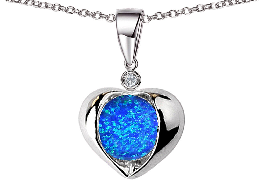 Star K Round 7mm Blue Created Opal Heart Pendant Necklace