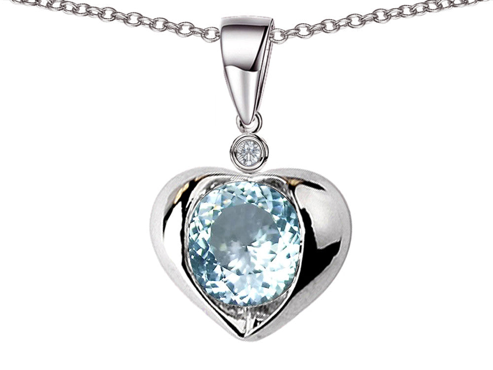 Star K Round 7mm Simulated Aquamarine Heart Pendant Necklace