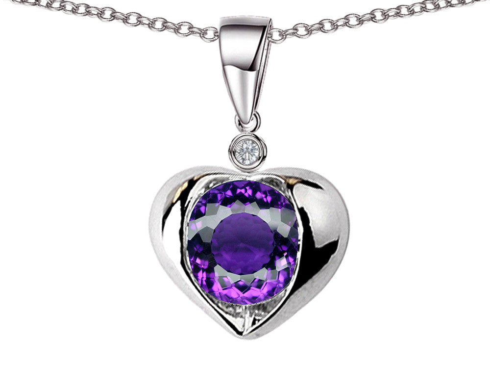 Star K Round 7mm Simulated Amethyst Heart Pendant Necklace