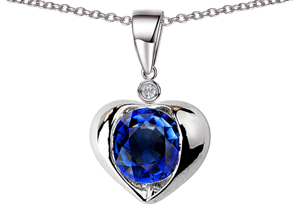 Star K Round 7mm Created Sapphire Heart Pendant Necklace