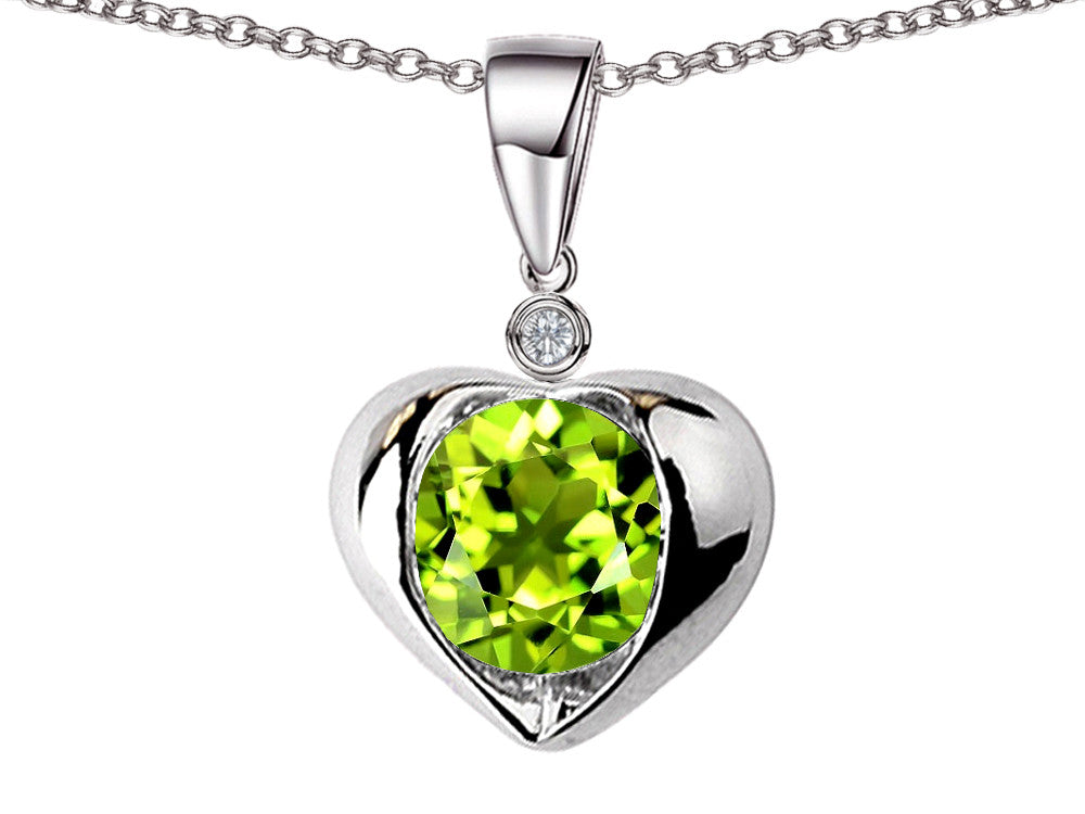 Star K Round 7mm Simulated Peridot and Cubic Zirconia Heart Pendant Necklace