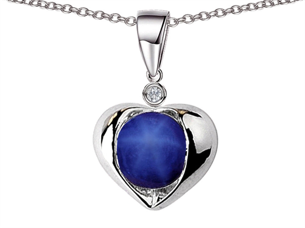 Star K Round 7mm Simulated Star Sapphire Heart Pendant Necklace