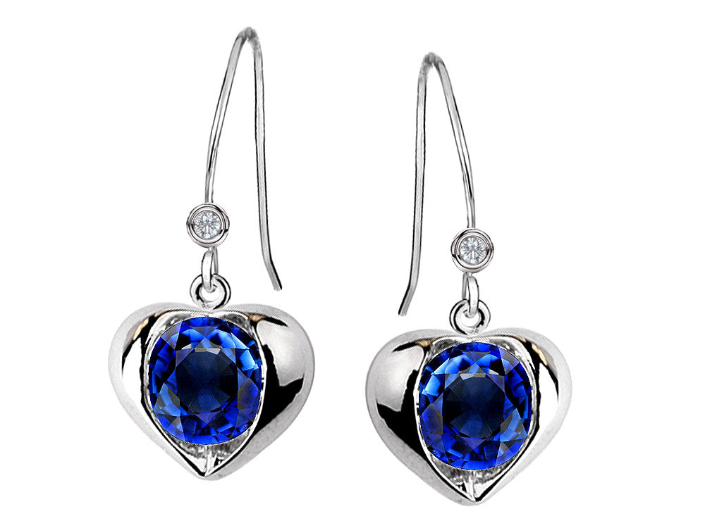 Star K Round 6mm Created Sapphire Heart Hook Earrings