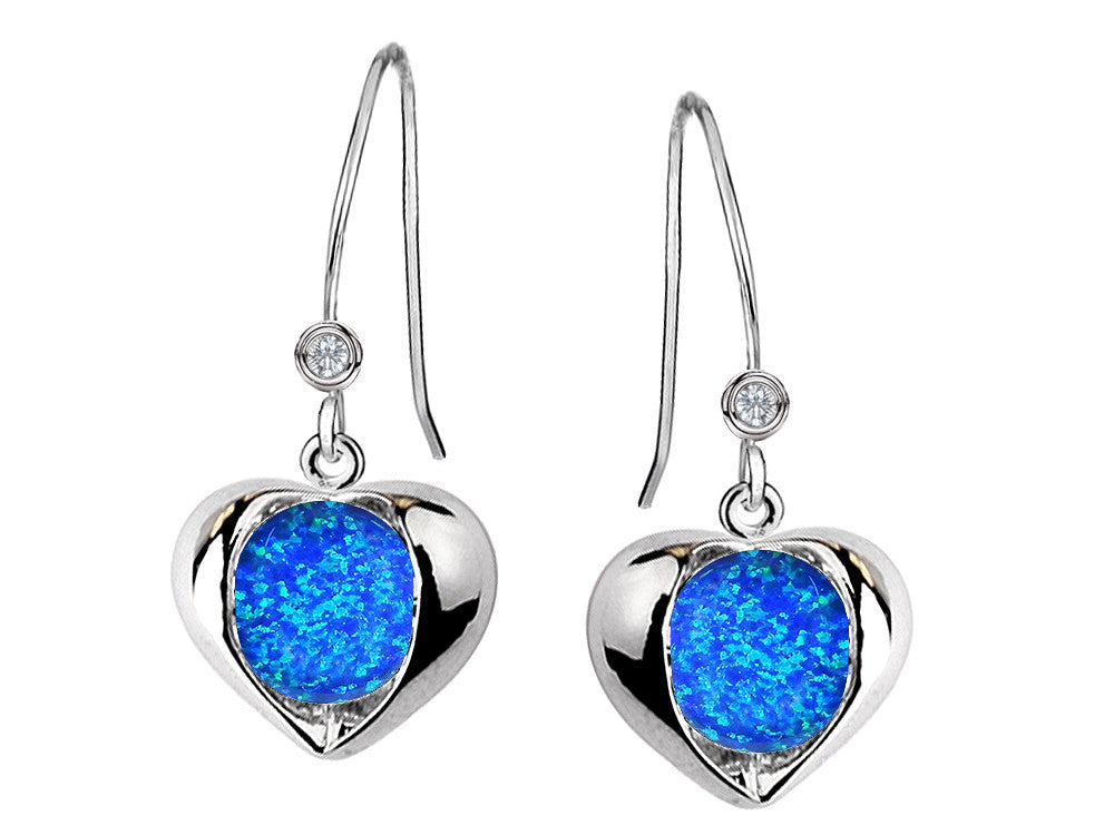Star K Round 6mm Blue Created Opal Heart Hook Earrings
