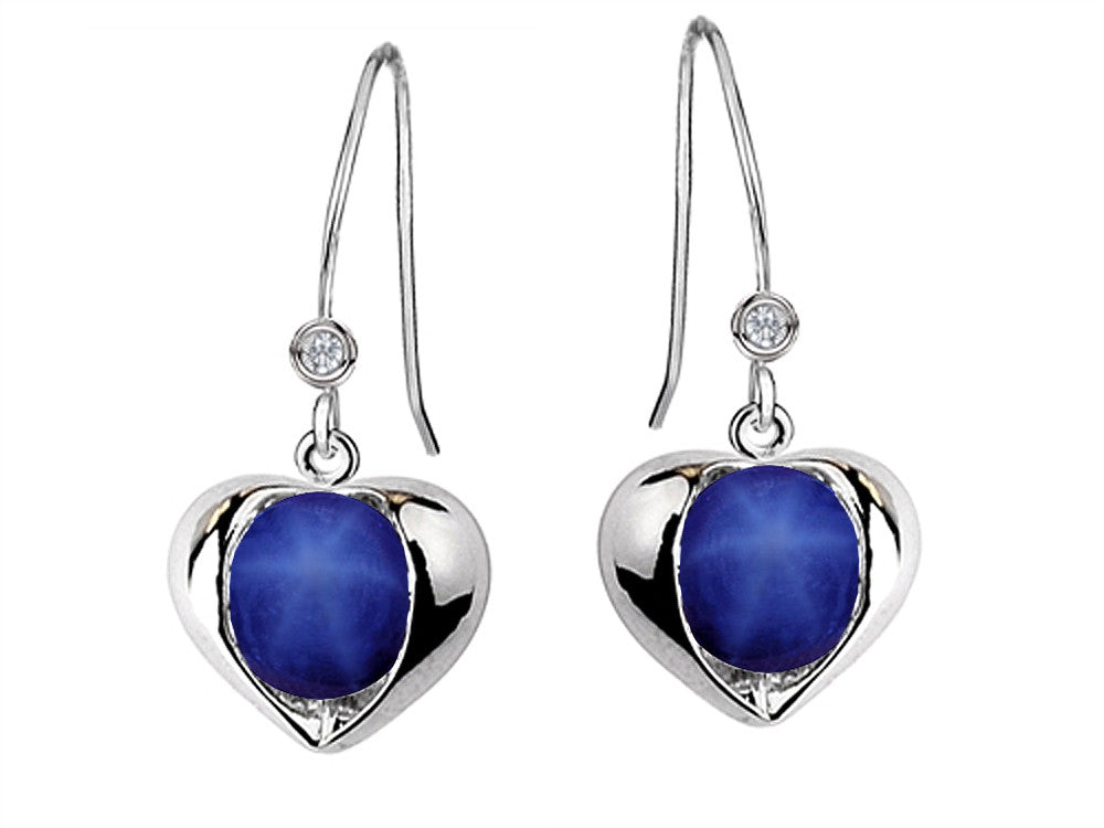 Star K Round 6mm Simulated Star Sapphire Heart Hook Earrings