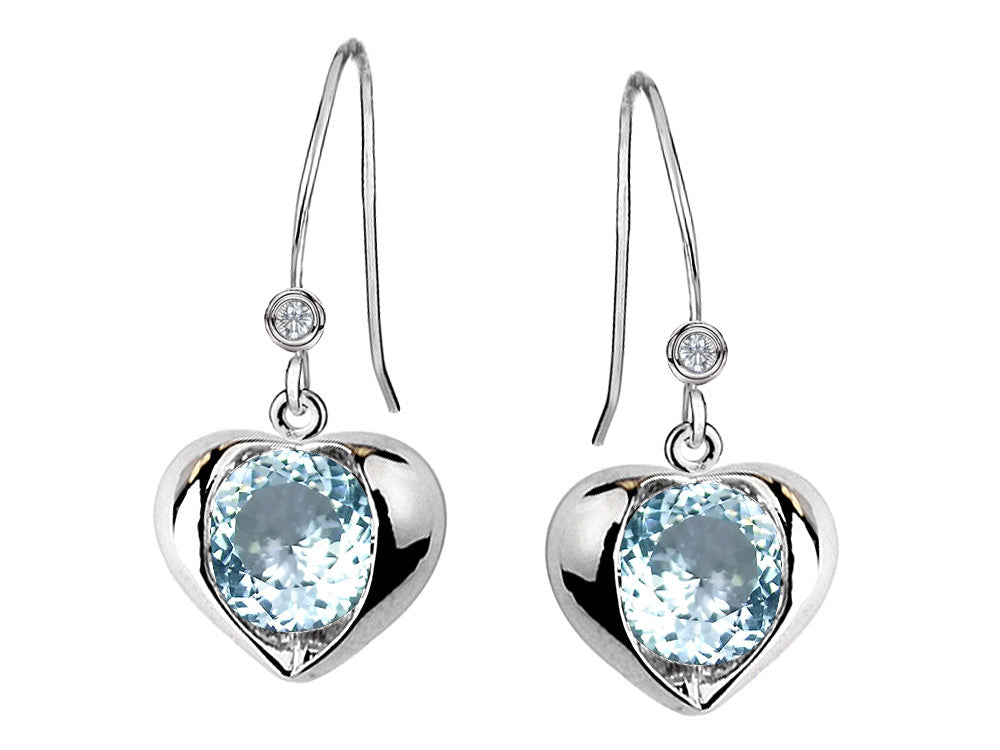Star K Round 6mm Simulated Aquamarine Heart Hook Earrings