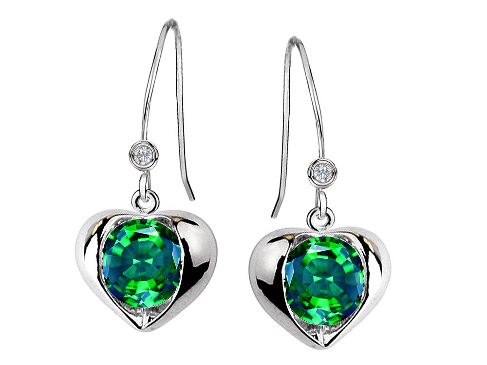 Star K Round 6mm Simulated Emerald Heart Hook Earrings