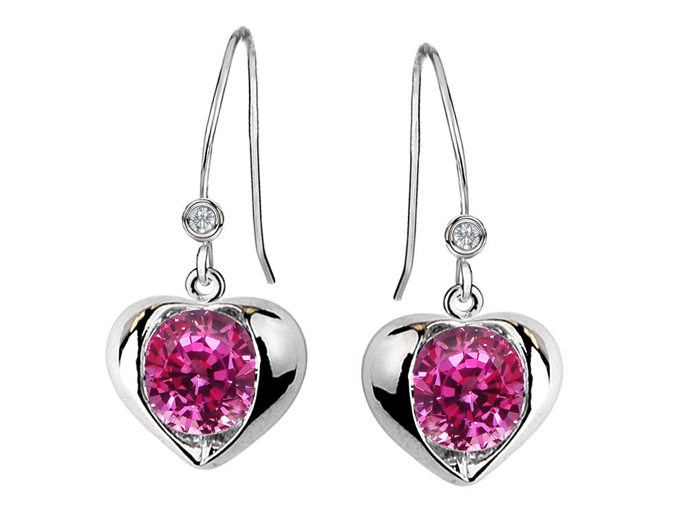 Star K Round 6mm Created Pink Sapphire Heart Hook Earrings