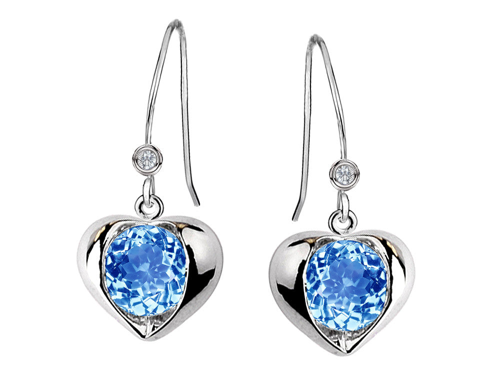Star K Round 6mm Simulated Blue Topaz Heart Hook Earrings