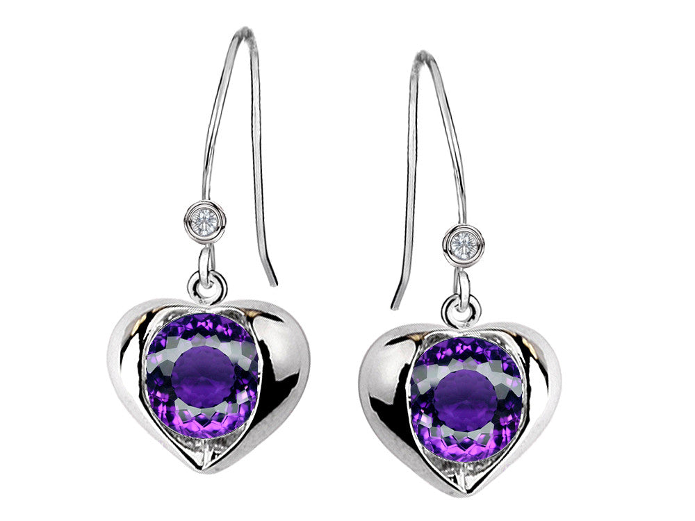 Star K Round 6mm Simulated Amethyst Heart Hook Earrings