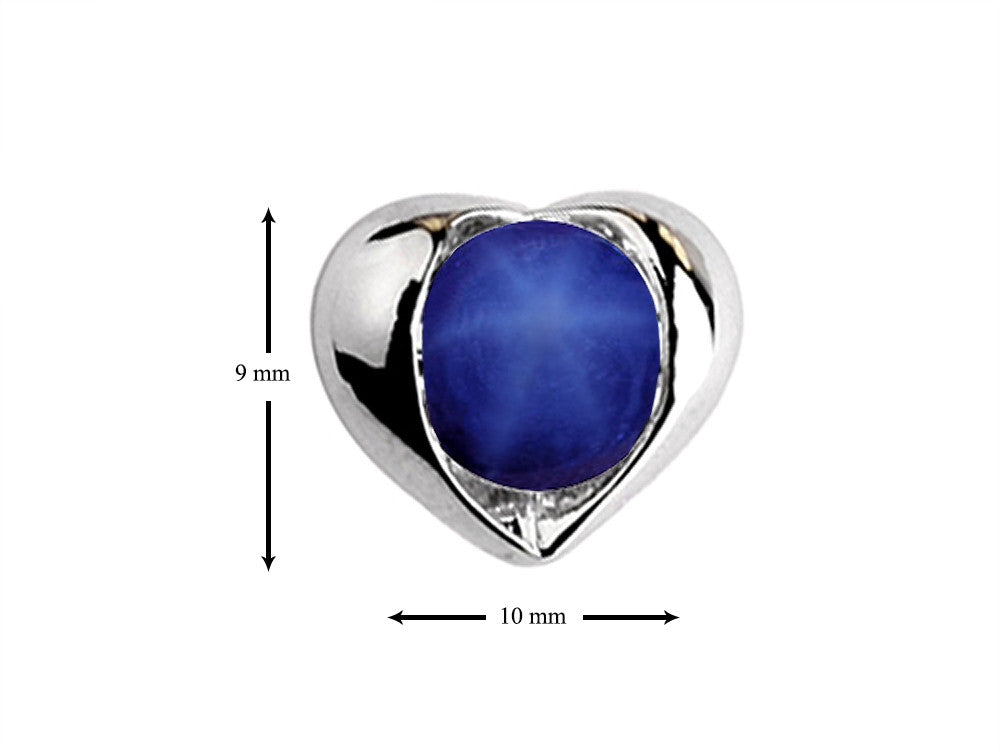 Star K Round 6mm Simulated Star Sapphire Heart Earrings