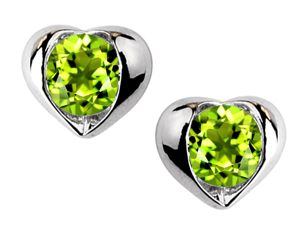 Star K Round 6mm Simulated Peridot Heart Earrings