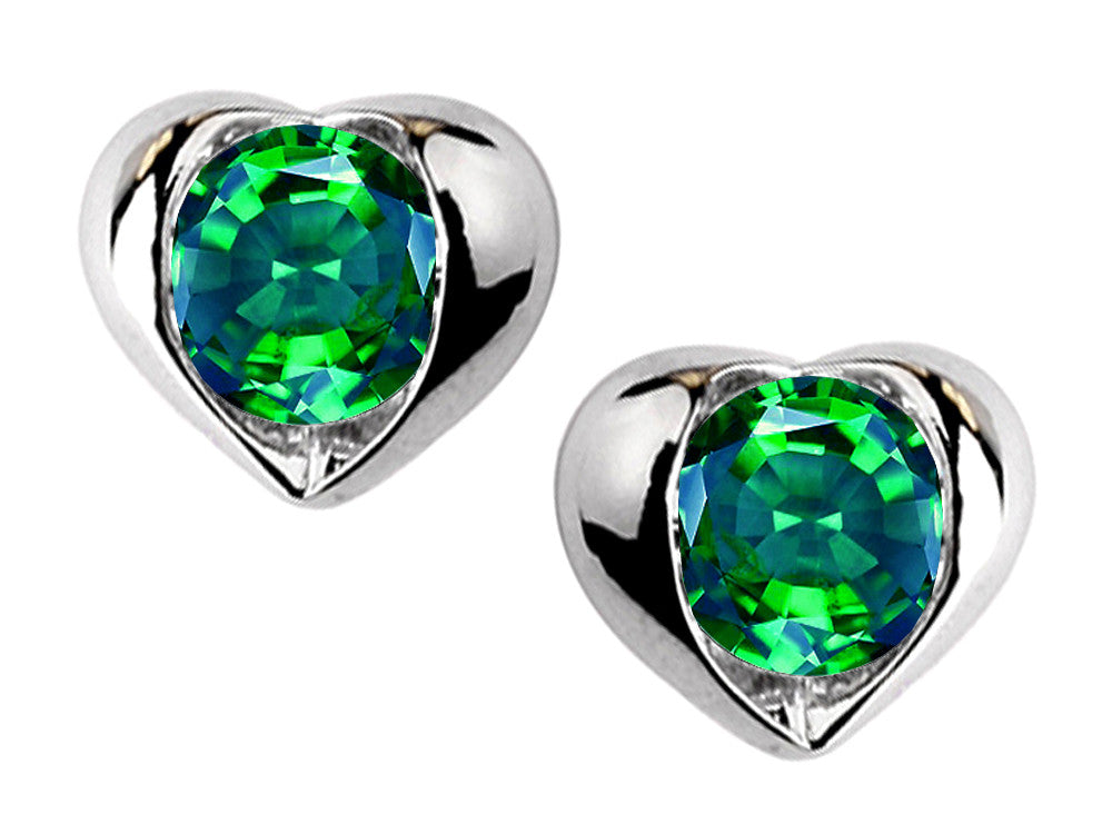 Star K Round 6mm Simulated Emerald Heart Earrings